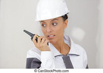 trabajador construcción, hembra, sitio, trabajo