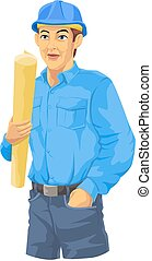 trabajador construcción, ilustración