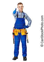 trabajador construcción, joven, feliz