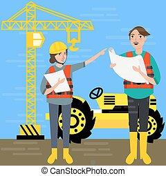 trabajador construcción, llevando, casco, seguridad, en frente, plano de fondo, grúa, tractor, edificio