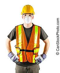 trabajador construcción, llevando, seguridad