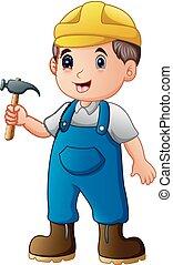 trabajador, construcción, martillo, caricatura