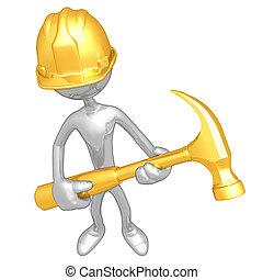 trabajador, construcción, martillo