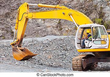 trabajador, construcción, operar, camino, excavador