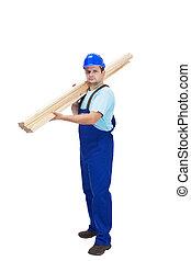 trabajador construcción, proceso de llevar, de madera, plancks