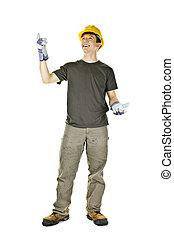 trabajador construcción, señalar con el dedo arriba