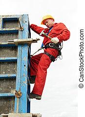 trabajador construcción, sitio, mounter