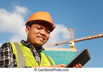 trabajador construcción, tableta, digital