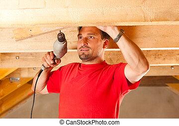 trabajador construcción, taladro, mano