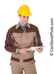 trabajador construcción, tenencia, tableta, digital