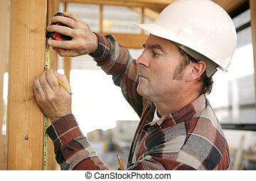 trabajador construcción, toma, measurments