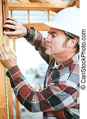 trabajador construcción, toma, medida