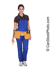 trabajador construcción, toolbelt, hembra