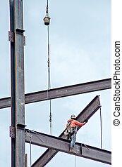 trabajador construcción, trabajo encendido, highrise, edificio