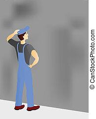 trabajador construcción, vacilar
