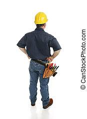 trabajador construcción, vista trasera
