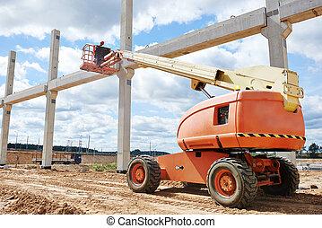 trabajador, constructor, parada, arriba, concreto, poste