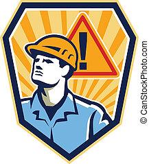 trabajador, contratista, construcción, precaución, retro, ...