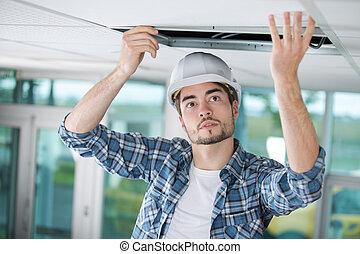trabajador, cubierta, un, apertura, en, el, techo