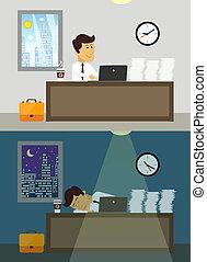 trabajador día, oficina, noche