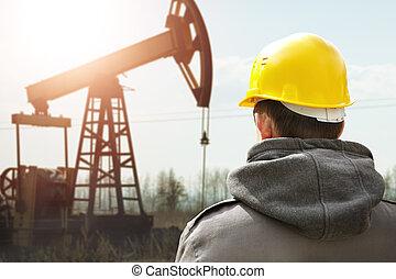 trabajador de aceite
