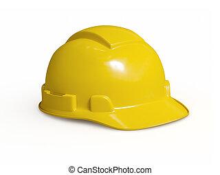 trabajador duro, aislado, amarillo, sombrero construcción
