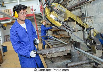 trabajador, el tender, un, máquina