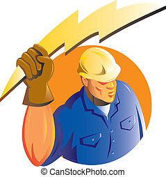trabajador, electricista construcción, perno, relámpago