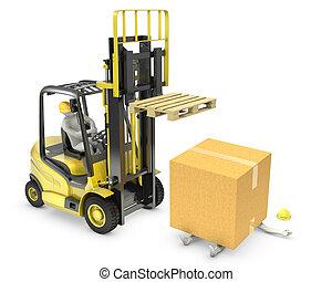 trabajador, era, golpe, por, cartón, caer, de, levantamiento, camión, tenedor