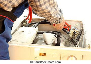 trabajador, es, reparación, un, máquina