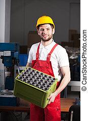 trabajador fábrica, durante, trabajo