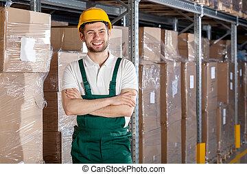 trabajador fábrica, en, almacén