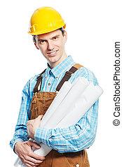 trabajador, feliz, total, bosquejos, hardhat