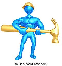trabajador, gigante, construcción, martillo