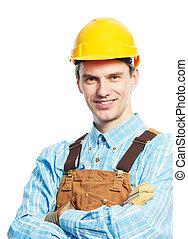 trabajador, hardhat, feliz, total, retrato