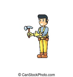 trabajador, herramienta, construcción, martillo