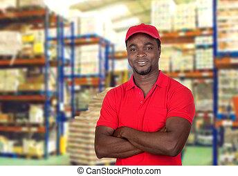 trabajador, hombre, con, uniforme rojo