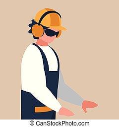 trabajador, industrial, carácter, avatar
