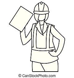 trabajador, industrial, carácter, hembra