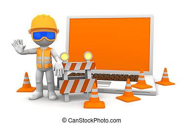 trabajador industrial, con, computador portatil