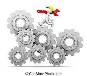 trabajador industrial, corriente, arriba, un, engranaje, mecanismo