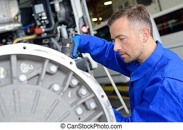 trabajador industrial, en, sitio