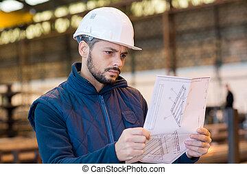 trabajador industrial, estudiar, paperowrk