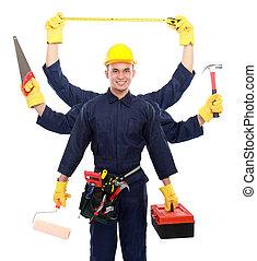 trabajador industrial, listo, para trabajar