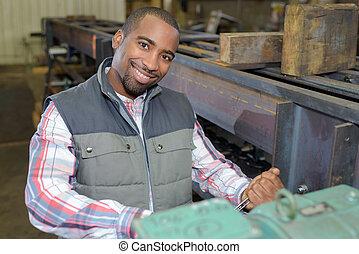 trabajador, industrial, posar