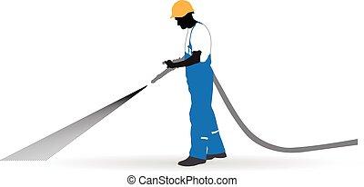 trabajador, manguera, debajo, rociado, presión
