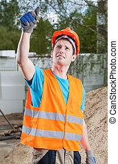 trabajador manual, actuación, pulgares arriba, señal