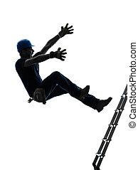 trabajador manual, hombre, caer, de, escalera, silueta