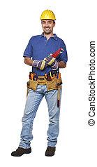 trabajador manual, posición, blanco