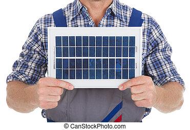 trabajador manual, tenencia, panel solar